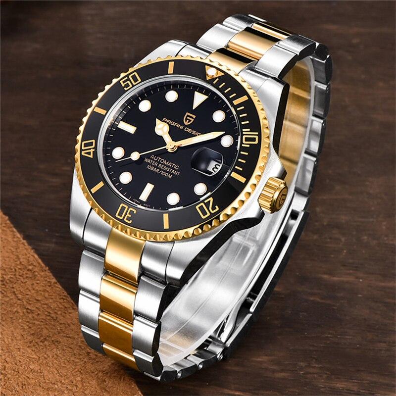 PAGANI Design Top Brand Luxury Men Watches Automatic Mechanical Watch Black Men Stainless Steel Waterproof Business Sport Watch