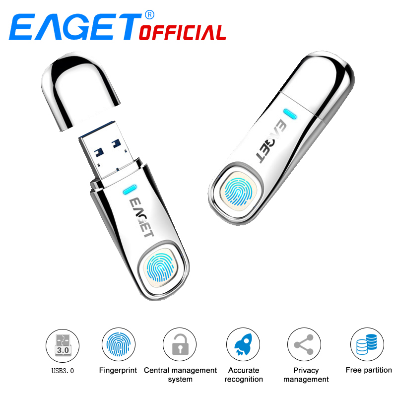 EAGET FU60 32GB 64GB  High-speed Recognition Fingerprint Encrypted High Tech Pen Drive Security Memory USB 3.0 Flash Drives