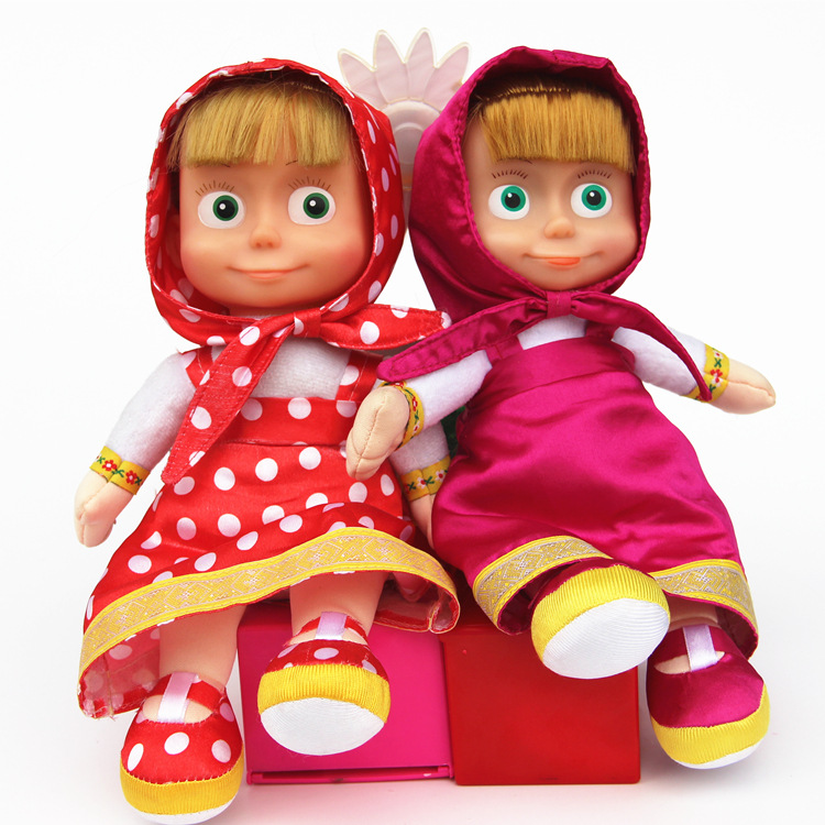 27 CM Russian Plush Toys Musical Masha Sing Doll Stuffed Educational Cartoon Princess For Boys Girls Birthday Christmas Toy Gift