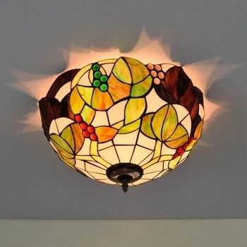 40cm American Pastoral Grape Tiffany Multi-Color Glass Restaurant Bedroom Aisle Bathroom Glass Ceiling Lamp american pastoral rose three restaurant tiffany pendant lamp