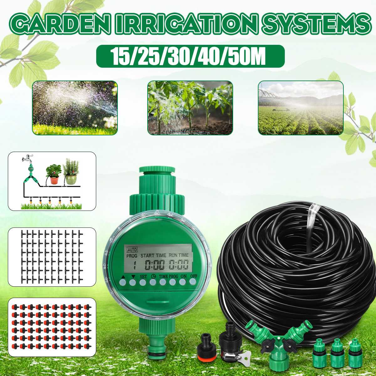 15/25/30/40/50m Automatic Watering Timer Irrigation System Greenhouse Plant Kit for Flowers Plants Bonsai Intelligent Care