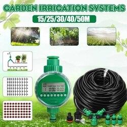15/25/30/40/50m Kit para Flores De Plantas De Efeito Estufa Sistema de Irrigação Temporizador de Rega Automática plantas Bonsai Inteligente Cuidados