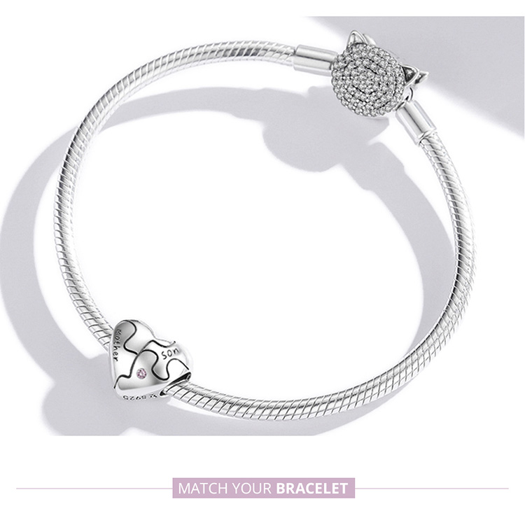 charm bracelet Genuine 925 Sterling Silver Heart-Shaped Charm with Love Jigsaw Fit Women Bracelet & Bangle Fine Jewelry Family Gift