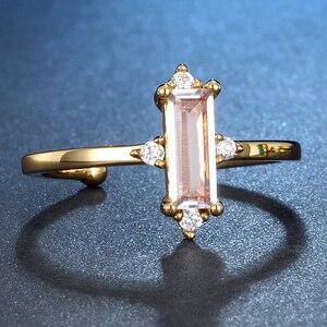 Image 3 - ALLNOEL anillo minimalista de piedras preciosas para mujer, Plata de Ley 925, Ágata verde, joyería de Cuarzo Rosa, Color amarillo dorado, diseño abierto