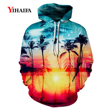 Fashion Mens Womens 3D Hoodies Sweatshirt Beach Sunrise Coconut Tree  Graphic Print Casual Pullover Tracksuit Couples Tops