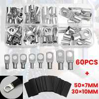 140PCS Assortment Cable Lug Copper Terminals Crimp Ring Battery Welding Wire Connectors Kit Heat shrink tubing