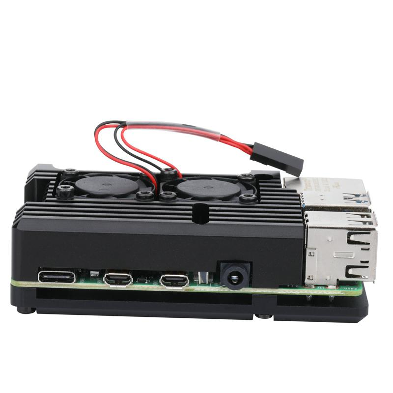Aluminum Case With Dual Cooling Fan Metal Shell Black Enclosure For RPI 4 Model B