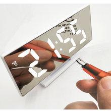 Светодиодный цифровой будильник зеркальные часы многофункциональный