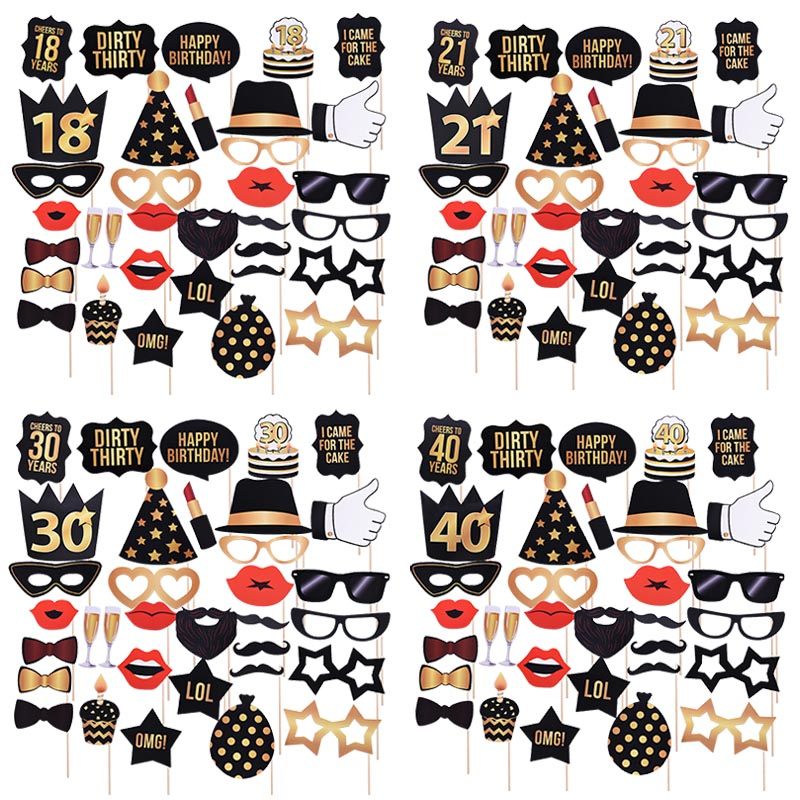18/21/30/50/<font><b>60th</b></font> Happy <font><b>Birthday</b></font> Photo Booth Props Mask Photobooth 30 Years Adult Party <font><b>Decoration</b></font> Photobooth <font><b>Birthday</b></font> Fovers image