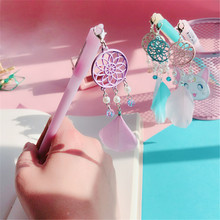 1Pcs Colorful Feather Dreamcatcher Pendant Gel Pen Ink Pen Promotional Gift Stationery School & Office Supply love face rabbit ear warm ball plush gel pen ink pen promotional gift stationery school