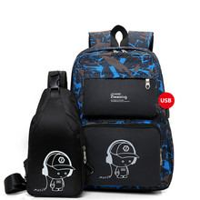 New 2 IN I1 High School USB Male Backpack Set for Boys Chest Bag Student Book Bag Men Women  School Travel Backpack fengdong men usb port backpack waterproof male chest bag set college bags one shoulder travel backpack high school bags for boys