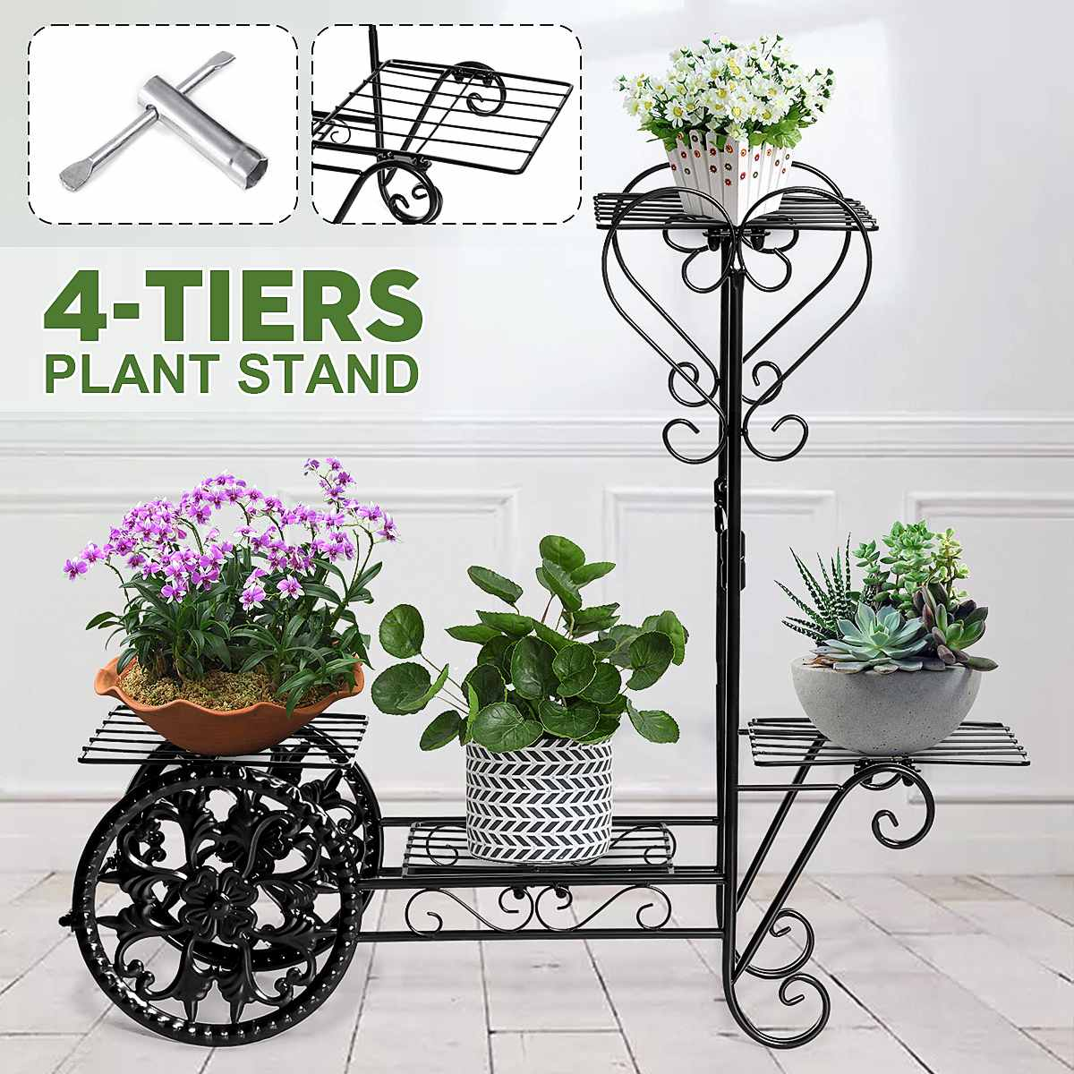 4 Spotted Metal Plant Stand Flower Rack Pot Storage Rack Shelf Display Shelf Holder Home Indoor Outdoors Decor Garden Balcony