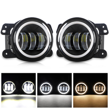DERI 4 Inch 7D Round Led Fog Lights 30W 6000K White Halo Ring DRL Off Road led Fog Lamps with Turn Signal For Jeep Wrangler JK