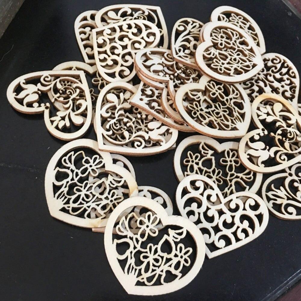 10 шт. прекрасный цветок сердце узор деревянный ручной работы Скрапбукинг Живопись Коллекция ремесло висячие орнамент