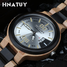 Hnatuy New Listing Wood Watch Men Quartz Watches Top Brand Luxury High Grade Solid Wood Watches Mens clock Relogio Masculino(China)