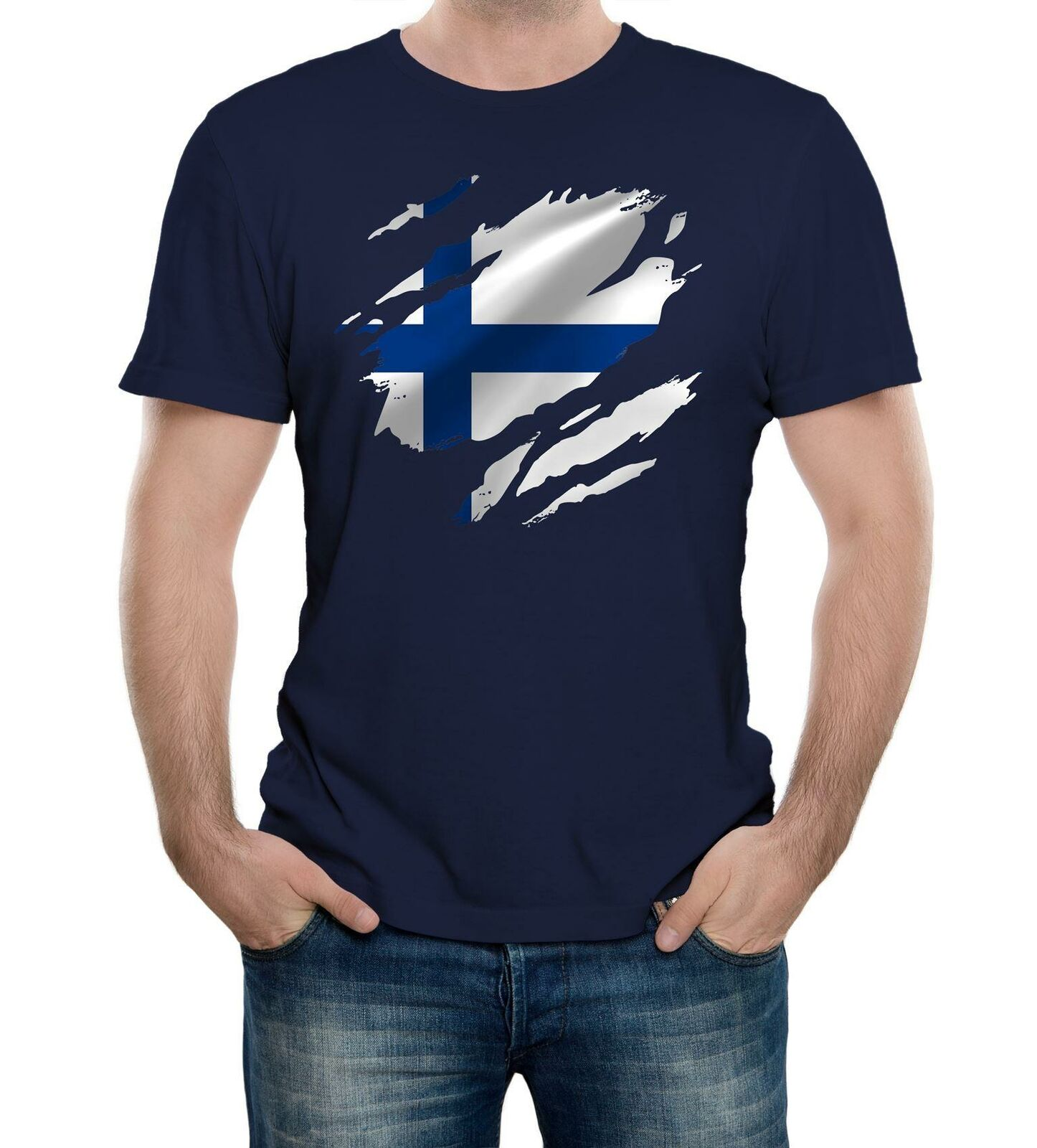 Mens Torn <font><b>Finland</b></font> <font><b>Flag</b></font> T <font><b>Shirt</b></font> Finnish Helsinki Country national football image