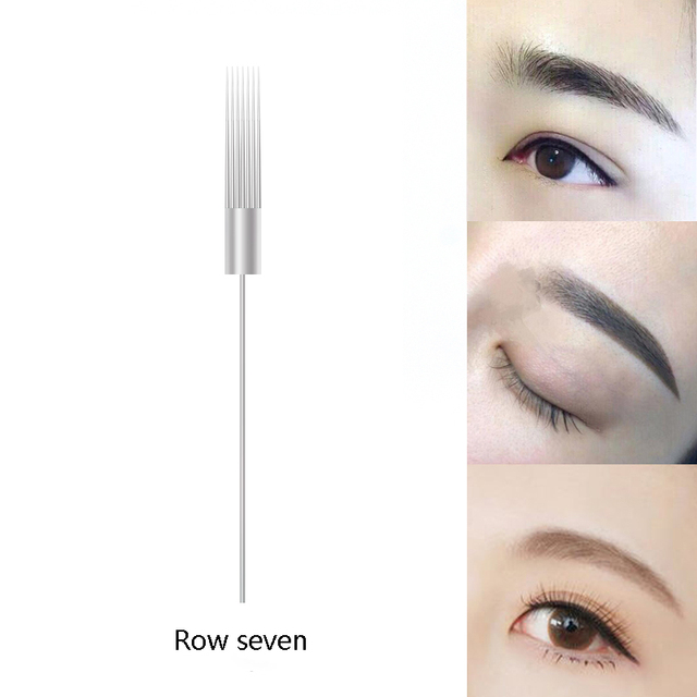 Threading pin semi-permanent tattoo embroidery needles Tattoo Eyebrow tips Flat double needle for shader makeup tool