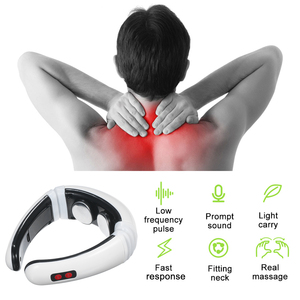 Electric Neck Massager Smart Neck Massage with Heat 6 Modes 16 Levels Portable Cordless Massage for Neck Pain Relief