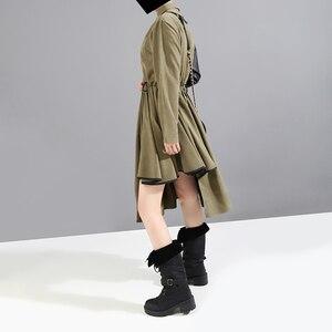 Image 4 - ארוך שרוול צבא ירוק אישה 2020 חורף Midi חולצה שמלת PU Sashes טלאים סימטרי גבירותיי אופנתי המפלגה שמלת סגנון 5698
