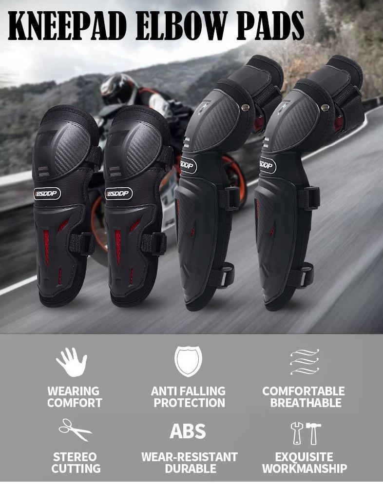Rodilleras de seguridad Motocicleta de acero inoxidable 2 piezas Rodilleras para adultos Conjunto de armadura protectora de espinilla