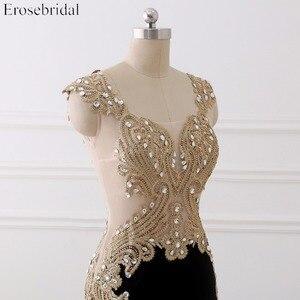 Image 4 - Erosebridal preto sereia vestido de noite longo laço de ouro manga longa vestido de noite com trem 8 cores