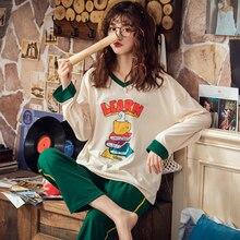 Doce bonito dos desenhos animados 100% algodão pijamas feminino conjuntos de pijamas outono algodão sexy primavera pijamas mujer