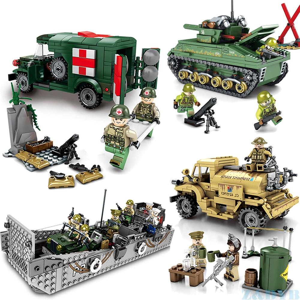 Military Vehicles US Army M4 Tank Ambulance Panzer Landing Boat WW2 Mini Soldier Model Locking Building Block Brick Children Toy