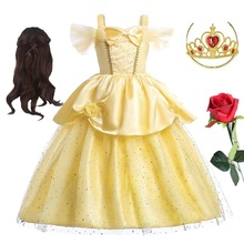 Princess Belle Dress For Girls Children Carnival Cosplay Beauty and the Beast Clothing Christmas Birthday Party Summer Dresses princess bell dress purple mesh beauty and the beast a line cosplay dress kids carnival costume halloween party show vestido
