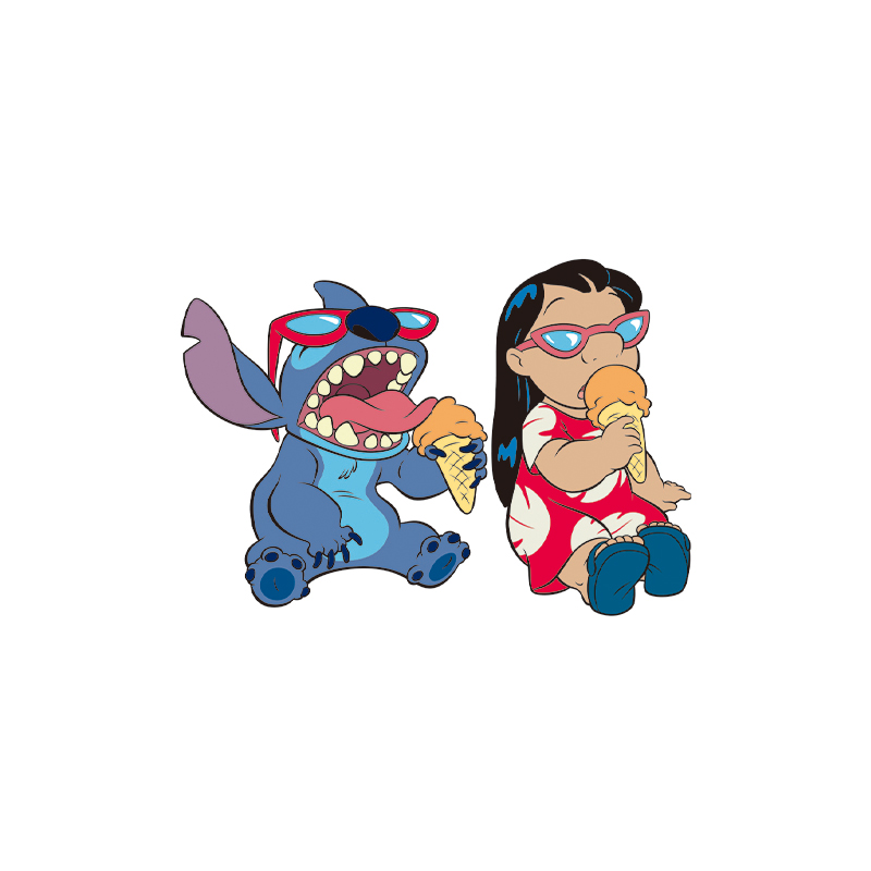 1PCS Hot Selling Stitch&Lilo Icon Heat Sensitive Sticker Little Monster Thermal Transfer Patch Iron On Applique Clothes DIY(China)