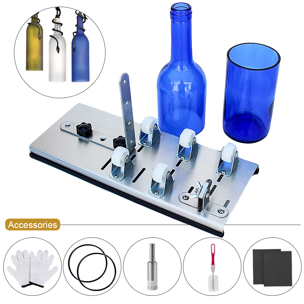 Glass Bottle Cutter Handicraft DIY Machine For Cutting Whiskey Alcohol Champagne Wine Beer Glass Craft Gloves Tool Kit Accessory