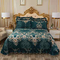 1 Pc Bed cover+2pcs Pillowcases bedding set Aristocratic court bed Cover Crystal velvet Bedspread Pillowcases Lace edge quilt