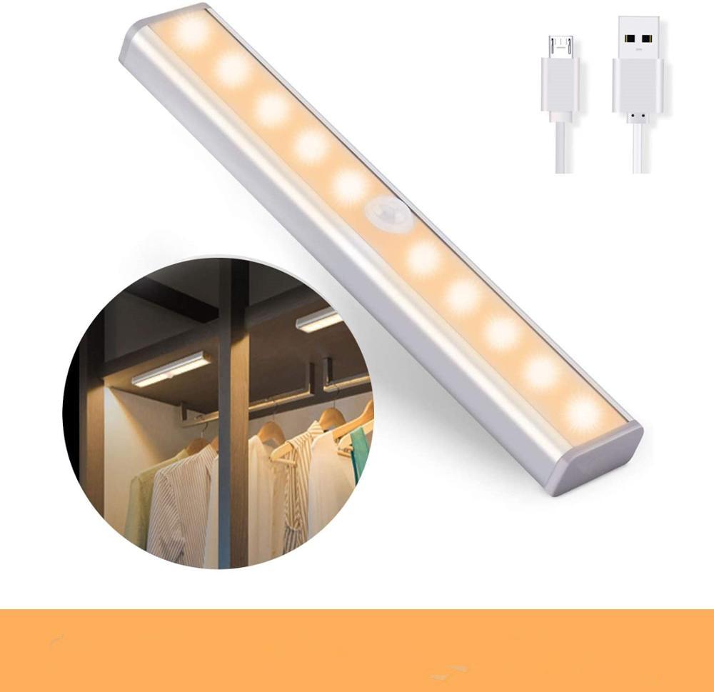 10LED Wireless USB Rechargeable Motion Sensor Cabinet Light LED Sensor Closet Kitchen Lighting Magnetic Stick-on Night Light Bar