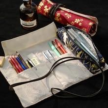 Ретро холст карандаш Сумка чехол для хранения съемный искусства 26см длина поставщика школу рулонных канцелярских смешной подарок