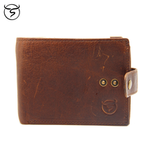 Men's cow genuine leather Wallet Crazy Horsehide Leather Protected Button with Coin Pocket RFID