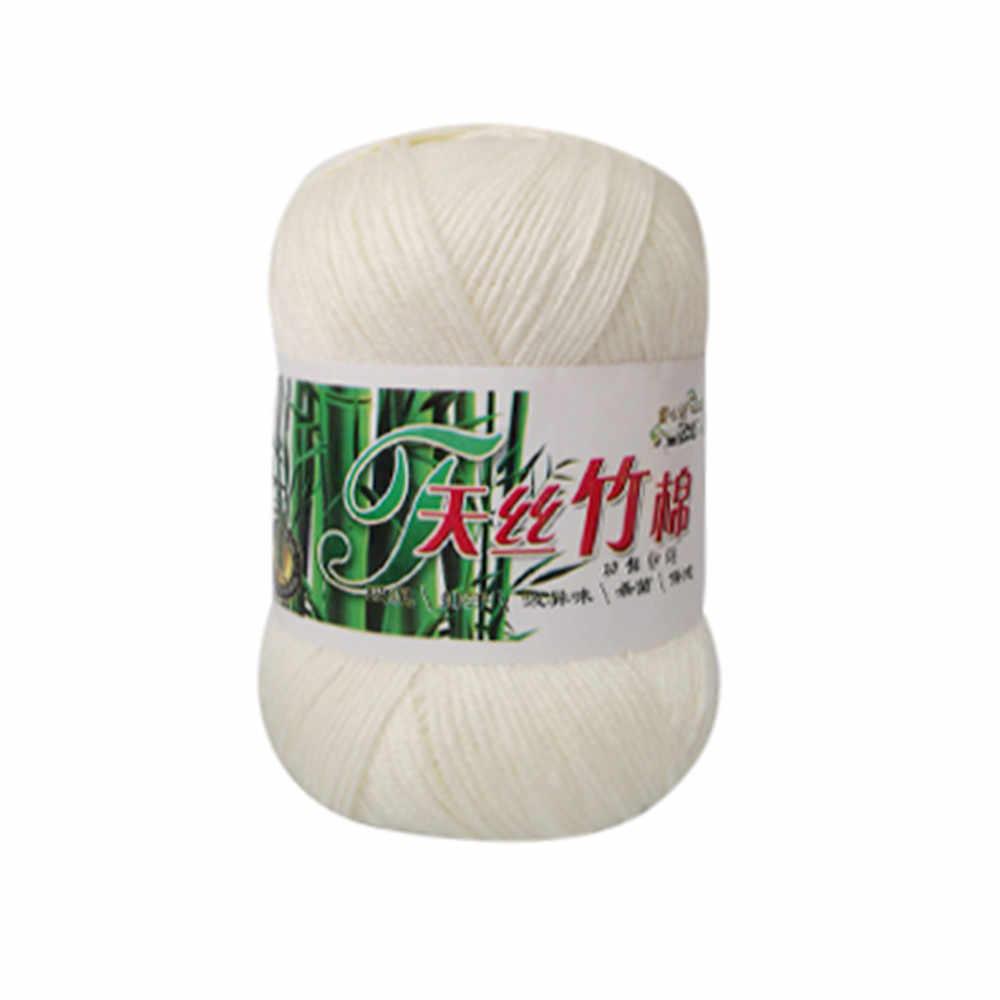 높은 품질 50g kniting 대나무 코 튼 원사 1pc 대나무 섬유 코 튼 따뜻한 소프트 자연 뜨개질 크로 셰 뜨개질 니트 양모 원사 새로운