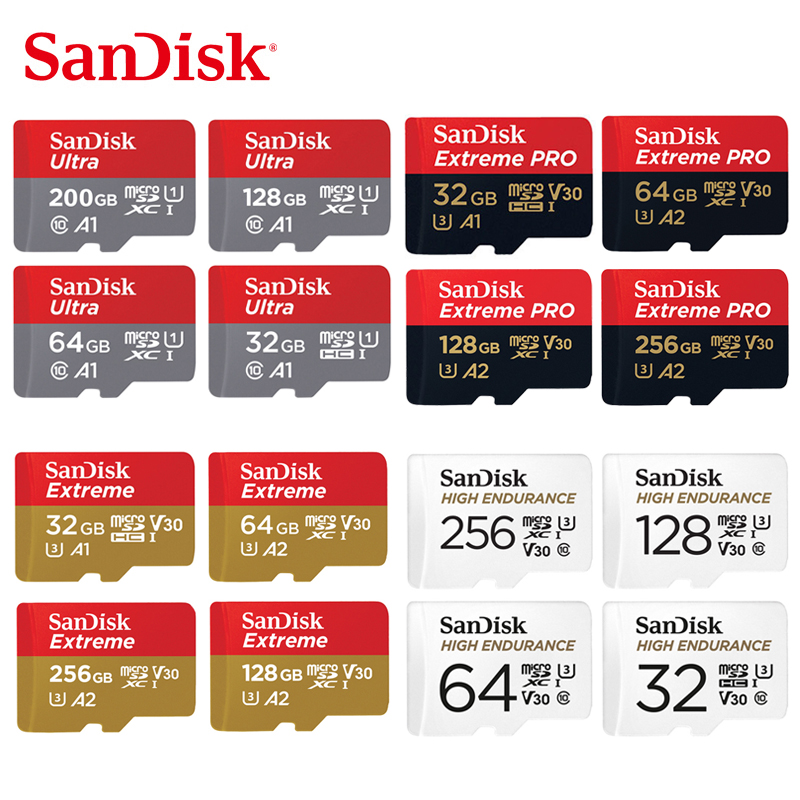 SanDisk Memory Card  32GB 64GB 128GB 256GB 512GB MicroSD Card SDHC/SDXC Class10 TF Card For Video Monitoring Smartphone Drones
