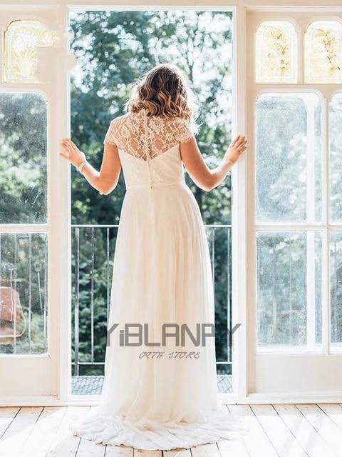 Vintage Wedding Dress Chiffon With Floor Length V-neck Short Sleeves Bride Dresses Lace Button Beading Sashes Vestido De Novia 2