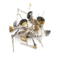Brass Steel Wheel Dremel Wire Brush Set For Dremel Tools Accessories 24pcs/Set Burr Abrasive