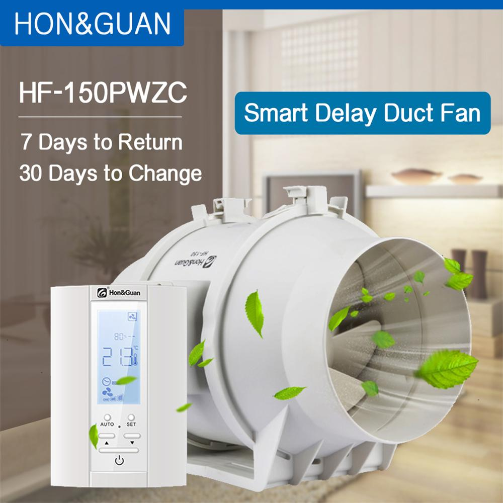 Hon&Guan 6'' Extractor Inline Duct Fan With Humidistat & Timer - Bathroom Ventilation Fan With Smart Sensor Controller (150mm)