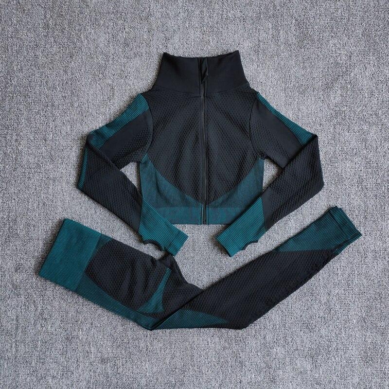 ShirtsPantsDarkGreen - Women Seamless Fitness Yoga Suit Color-blocked Sportwear
