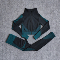 ShirtsPantsDarkGreen - Women Seamless Fitness Yoga Suit Color-blocked Sportwear