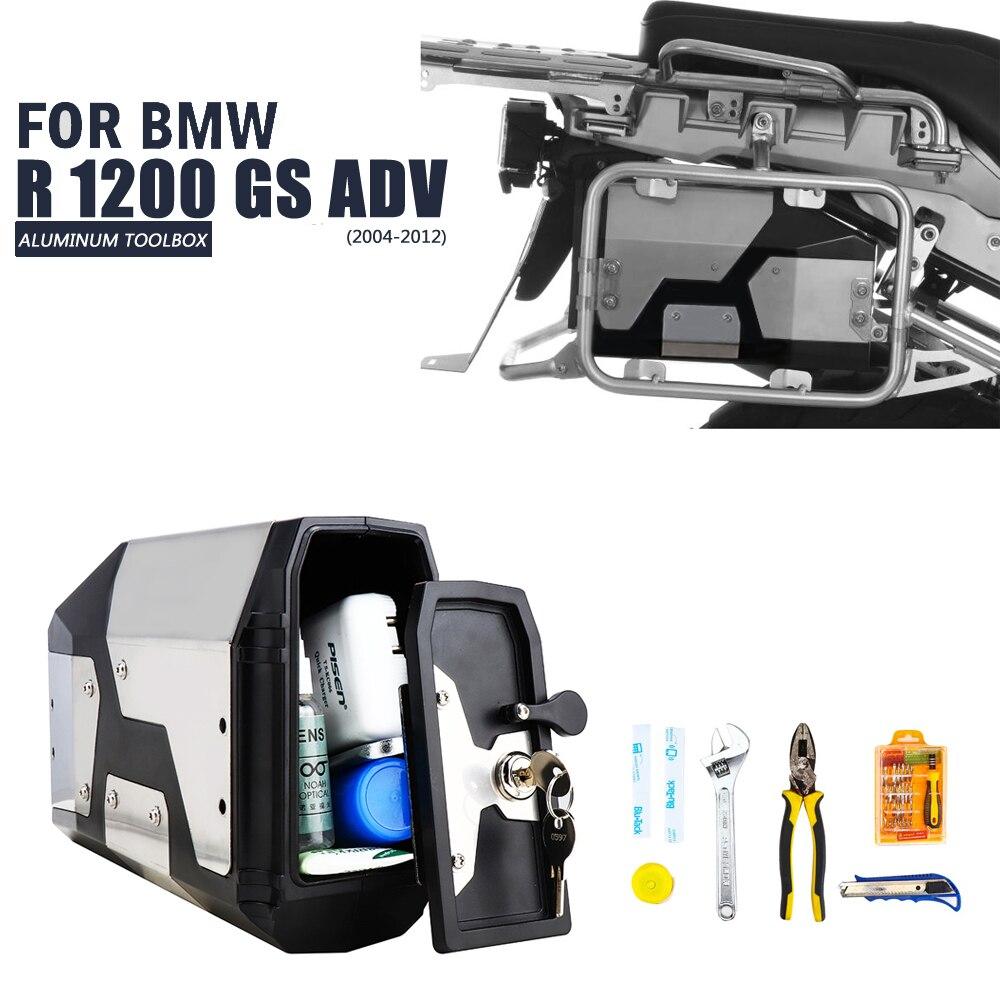 Chegada de novo! Caixa de ferramentas para bmw r1250gs r1200gs lc & adv aventura 2002 2008 2018 para bmw r 1200 gs suporte lateral esquerdo caixa alumínio