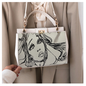 2020 Luxury design Sketch Painting Women Handbag Gold Hardware High quality Real Leather ladies handbag Hand White shoulder bag image
