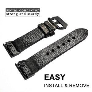 Image 2 - YOOSIDE 26mm 22mm rapide ajustement Vintage en cuir véritable bracelet de montre pour Garmin Fenix 6X/5X Plus/Fenix 3/Forerunner 935/Fenix 5
