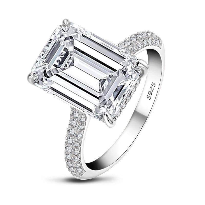 COLORFISH luxe 6 carats émeraude coupe AAAAA cubique zircone bague de fiançailles 925 en argent Sterling anneaux pour femmes bijoux de mariage - 4
