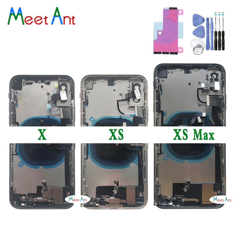 High quality For iphone X XS / XS Max Back Middle Frame Chassis Full Housing Assembly Battery Cover Door Rear With Flex Cable