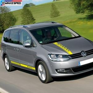 Image 5 - 1 set di Sport Strisce Minigonne laterali Auto Hood Bonnet Sticker Per Volkswagen Sharan Auto Corpo Decorazione Della Decalcomania Del Vinile di Sintonia accessori