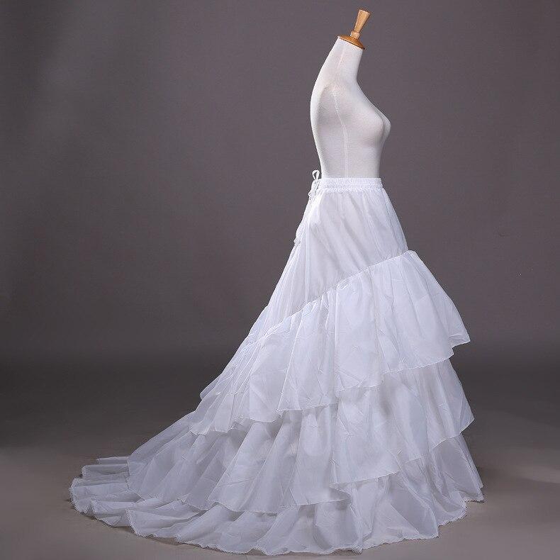 3 Hoops Long Petticoats for Women Wedding Dress Skirt 3 Layers Elastic Waist Underskirt Crinoline Jupon Petticoat Train(China)