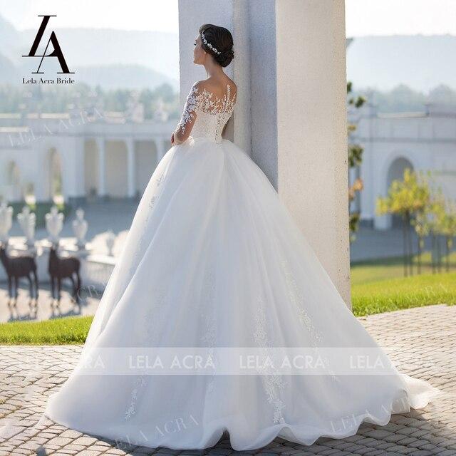 Fashion Appliques Lace Wedding Dress Beaded Long Sleeve Illusion Ball Gown Vestido De Novia Princess LelaAcra S102 Bridal Gown 2