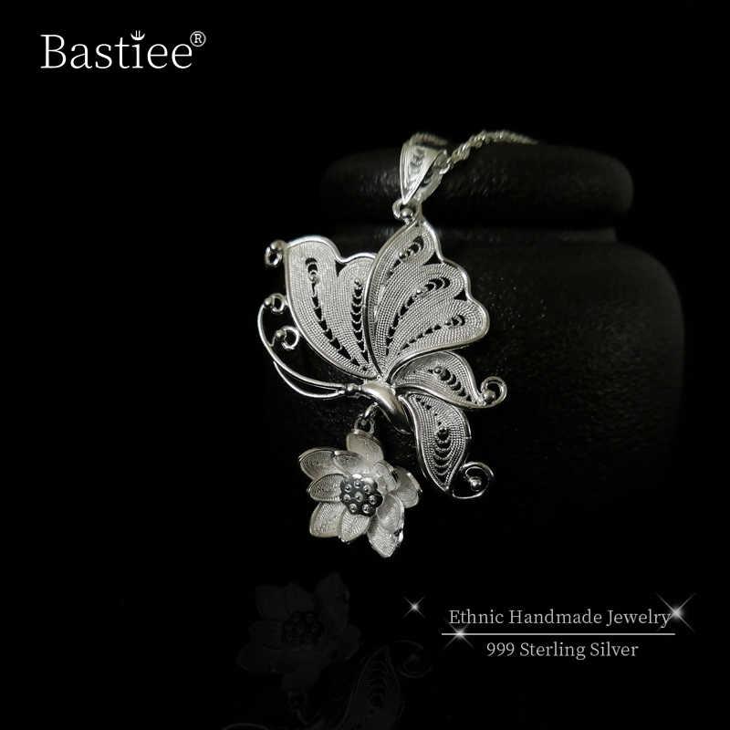 Bastiee 999 Sterling Silver Butterfly Pendant Necklace Retro Women Pendants Chakra Ethnic Handmade Luxury Jewelry Miao Silver